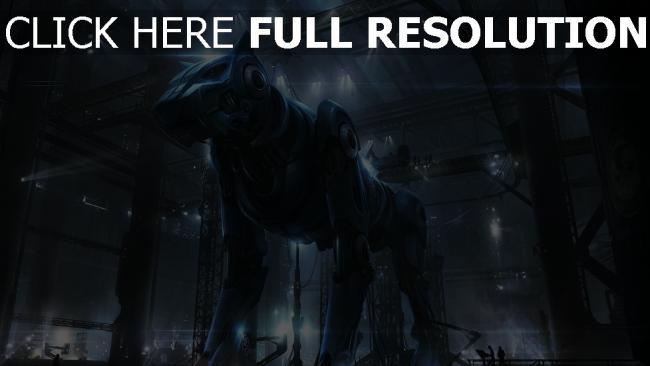 hd hintergrundbilder hund roboter cyborg hangar mechanismus