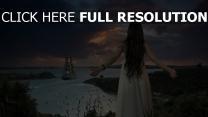mädchen horizont meer schiff warte