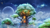 baum haus dragon planet himmel sterne