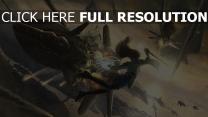 schiff mädchen sprung explosion magie