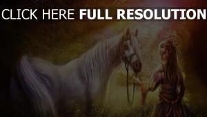 mädchen pferd pferdegeschirre wald ausstrahlung
