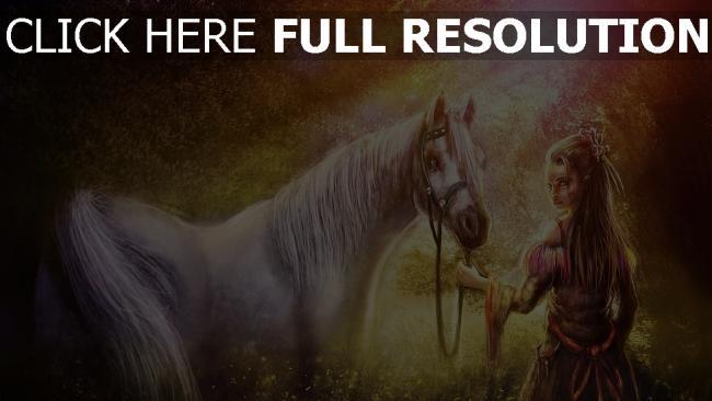 hd hintergrundbilder mädchen pferd pferdegeschirre wald ausstrahlung