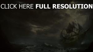schiff segel sturm wellen wolken