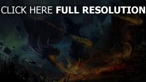 drachen feuerspucken feuer zerstörung stadt