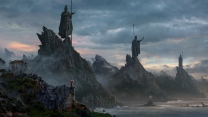 berge statuen steine bucht wolken