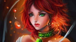 mädchen haar rote augen mehrfarbiger halskette