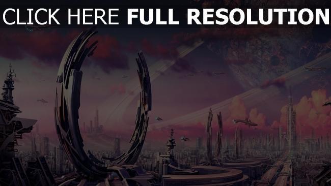 hd hintergrundbilder metropole zukunft planet ringe transport