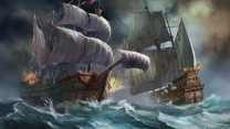 wellen sturm schiffe segel explosion