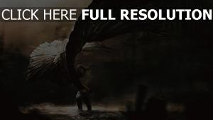 mädchen engel gefallen flügel schwarzes