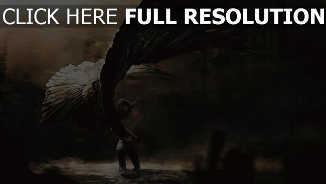 hd hintergrundbilder mädchen engel gefallen flügel schwarzes