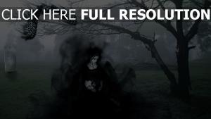 mädchen kleid schwarz eule friedhof