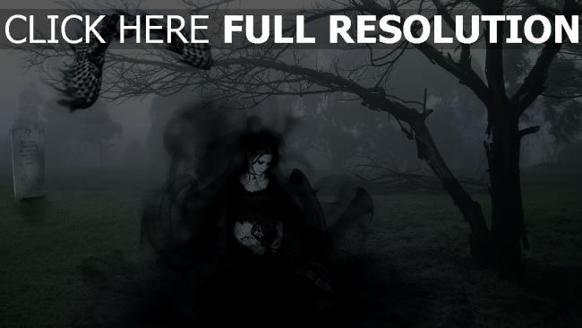 hd hintergrundbilder mädchen kleid schwarz eule friedhof