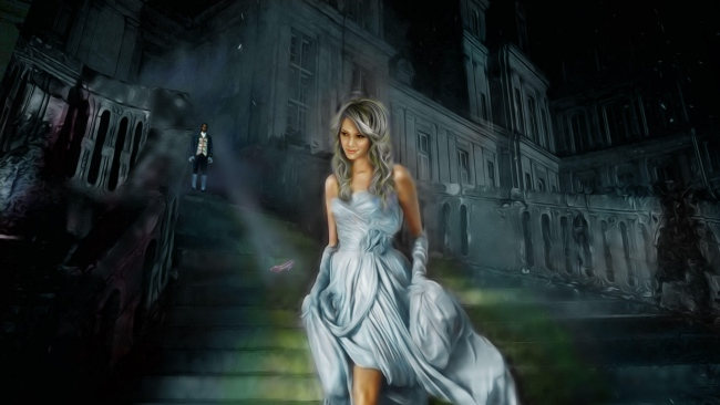 hd hintergrundbilder aschenputtel prinzen palast treppe kleid
