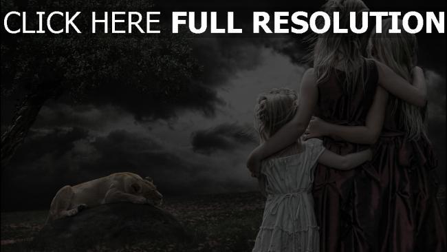 hd hintergrundbilder kinder löwen schlafen stein wolke