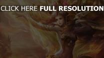mädchen magie haar wind drachen