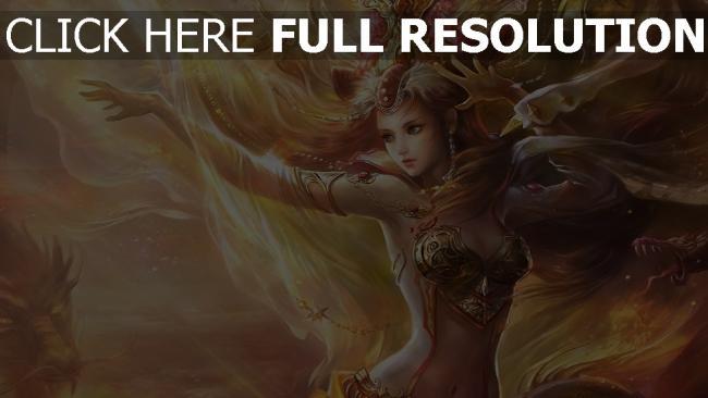 hd hintergrundbilder mädchen magie haar wind drachen