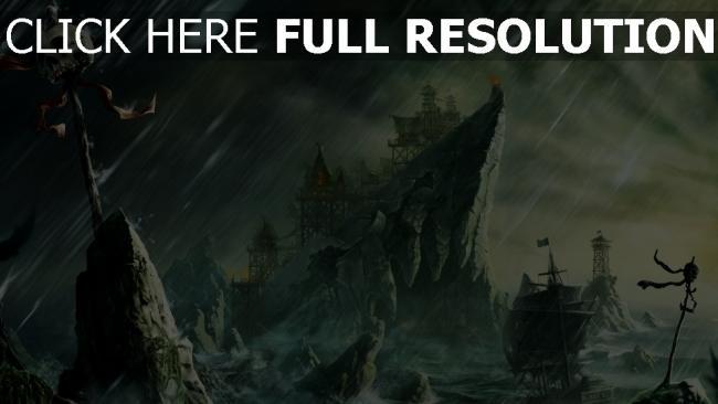 hd hintergrundbilder sturm schutt schädel schiff felsen