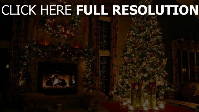 hd hintergrundbilder zimmer weihnachten fichte kamin girlande feier