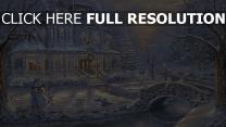 haus winter schnee kinder schneemann weihnachts