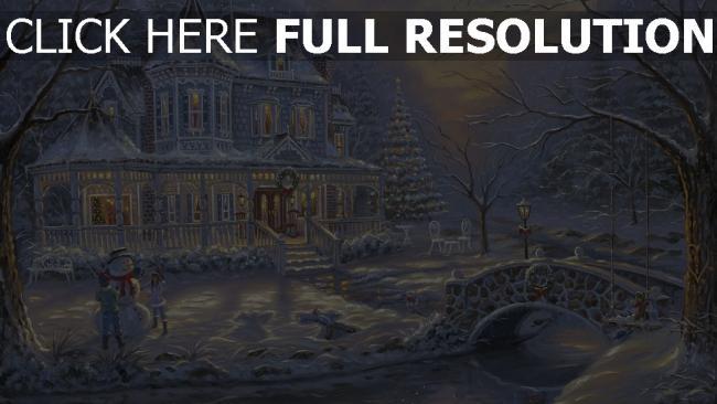 hd hintergrundbilder haus winter schnee kinder schneemann weihnachts