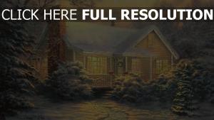 haus winter schnee urlaub tanne weihnachten