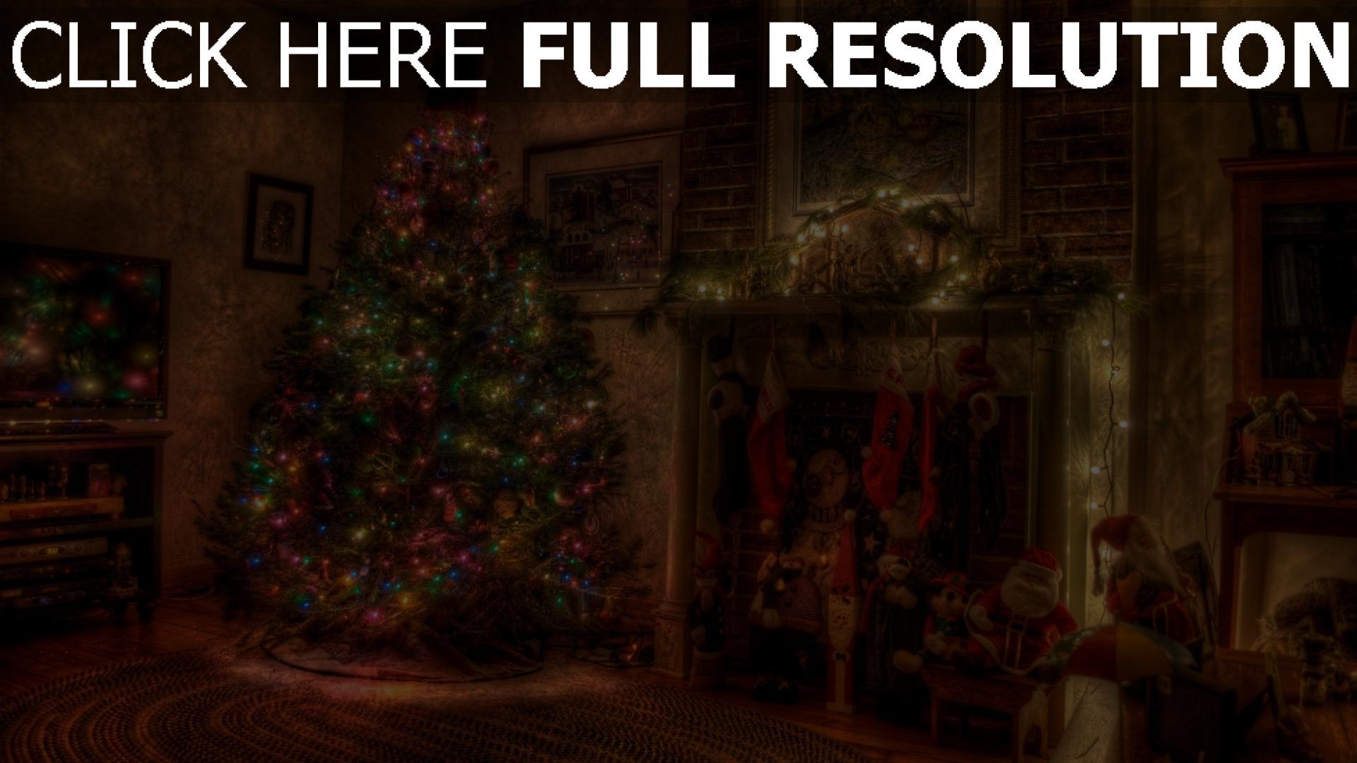 Hd Hintergrundbilder Tanne Dekorationen Girlanden Kamin Urlaub Weihnachten Desktop Hintergrund