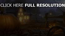 halloween kürbis haus nacht lichter
