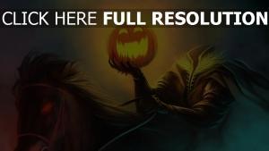 halloween rider kopf kürbis pferd