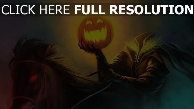 hd hintergrundbilder halloween rider kopf kürbis pferd