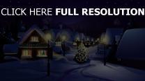 winter schnee stadt tanne lichter weihnachts