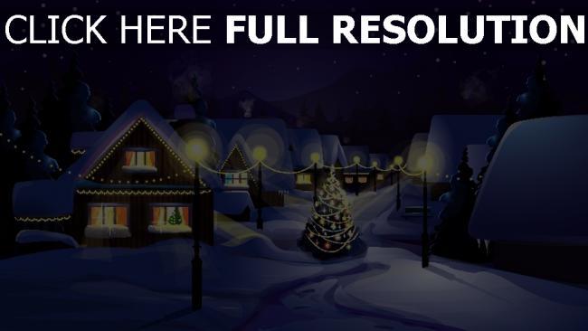 hd hintergrundbilder winter schnee stadt tanne lichter weihnachts