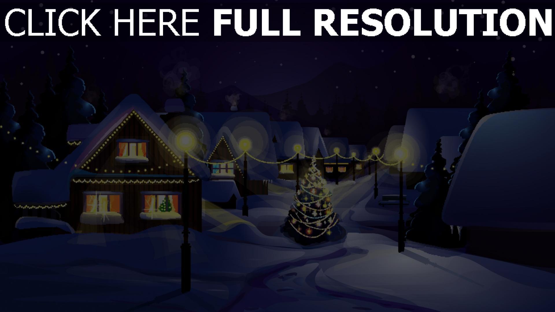 HD Hintergrundbilder winter schnee stadt tanne lichter weihnachts ...