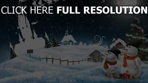 schneemänner winter schnee mond feiertag weihnachten