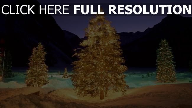 hd hintergrundbilder schnee winter girlande berge neues jahr