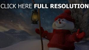 schneemann neues jahr winter schnee licht