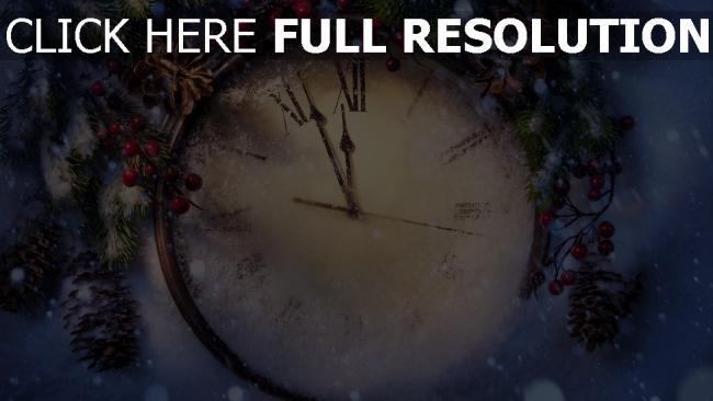 hd hintergrundbilder uhr gesicht winter schnee fichte neues jahr
