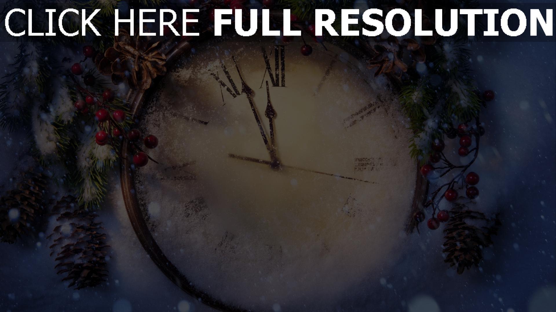 hd hintergrundbilder uhr gesicht winter schnee fichte neues jahr 1920x1080