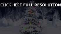 winter schnee bäume tanne girlande neujahr