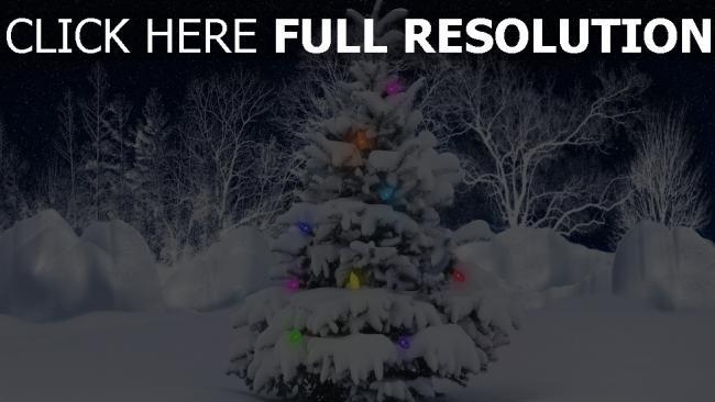 hd hintergrundbilder winter schnee bäume tanne girlande neujahr