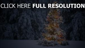 wald tanne girlande lichtern schnee winter