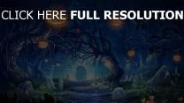 halloween kürbis gräber friedhof nacht dunkelheit