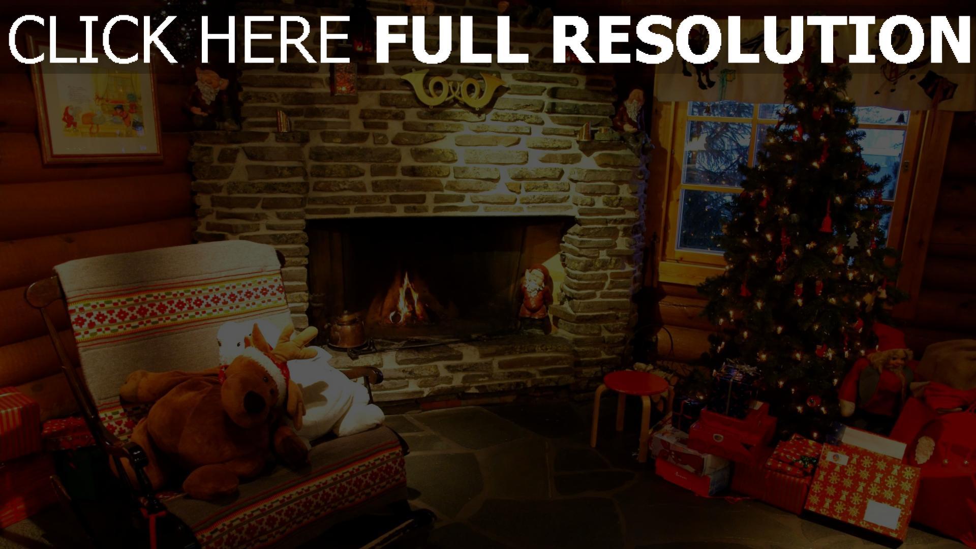 hd hintergrundbilder haus weihnachten fichte kamin spielwaren 1920x1080