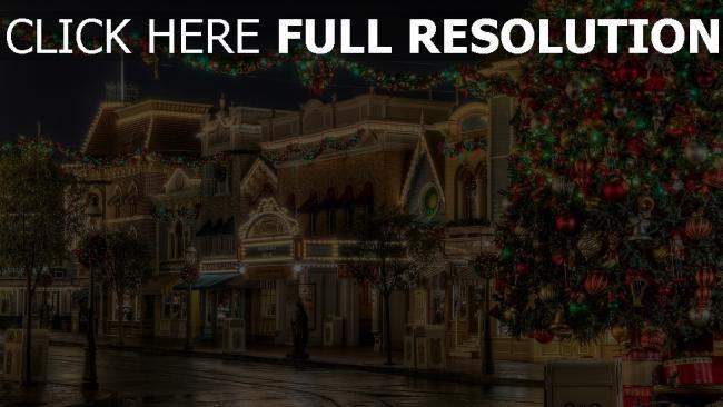 hd hintergrundbilder bäume ornamente girlanden lichter weihnachts
