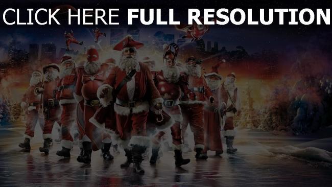 hd hintergrundbilder urlaub weihnachtsmann nacht stadt sterne