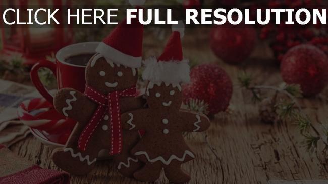 hd hintergrundbilder weihnachten lebkuchenmänner kaffee spielzeug