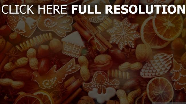 hd hintergrundbilder weihnachten lebkuchen nüsse süßigkeiten zimt