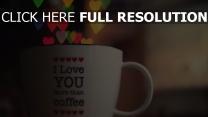 liebe romantik tasse kaffee inschrift