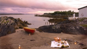 romantisch boot strand picknick