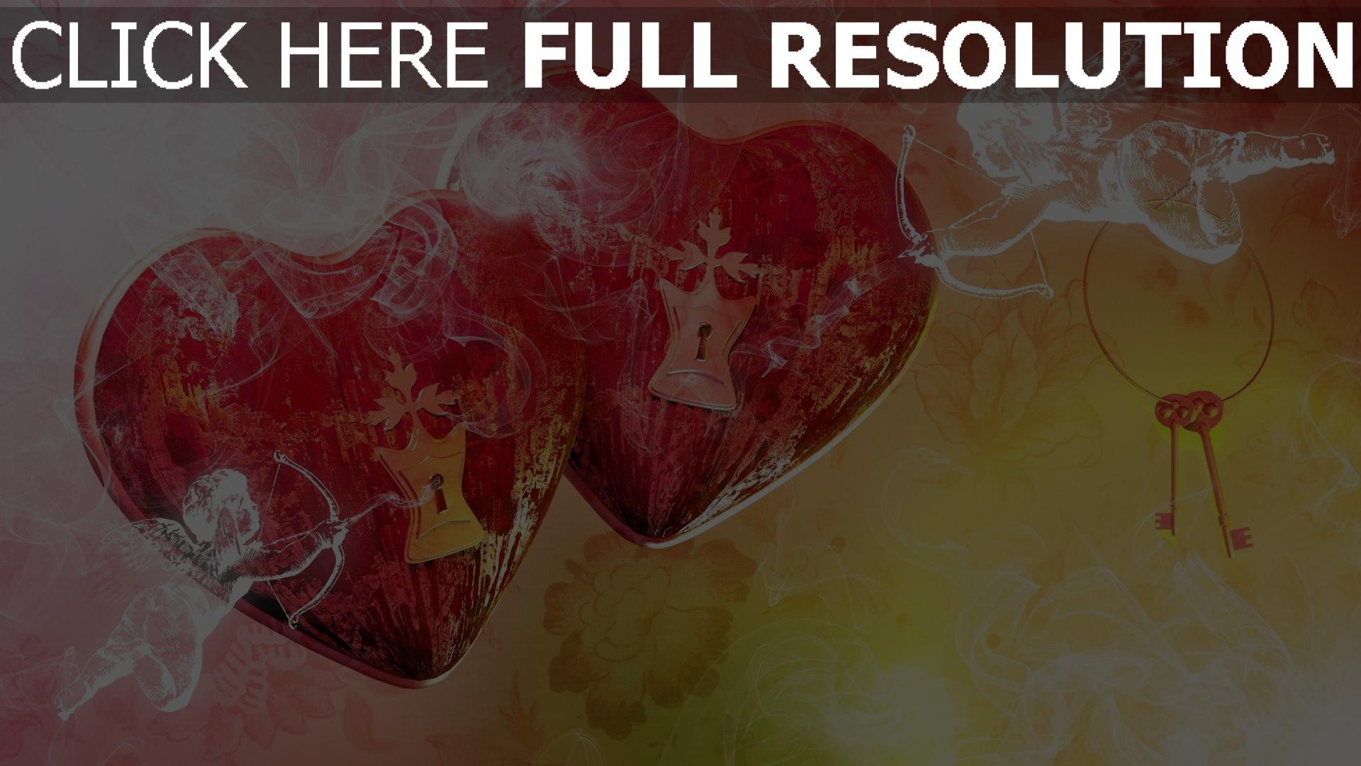 Hd Hintergrundbilder Valentinstag Herz Schlussel Amoretten Desktop