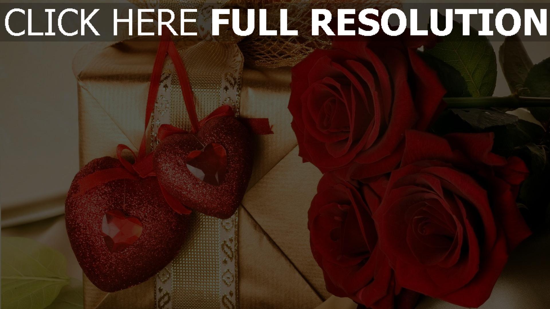 hd hintergrundbilder valentinstag herz rosen geschenk 1920x1080